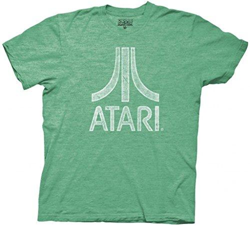 Atari Distressed Logo Adult Green T-Shirt (Adult Medium)