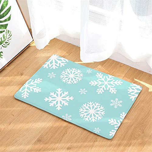 Embossed Blue Circles (ATOLY Mint Blue Snowflake Entrance Mat | Embossed Front Door Mat | Indoor and Outdoor Entrance Carpet, Front Door)