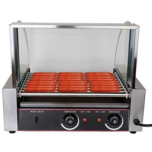 Ridgeyard Commercial Portable 24 Hot Dog 9 Roller Stainless Steel Grilling Machine 24 Hot Dog Maker with Cover Ideal for Business Home Use