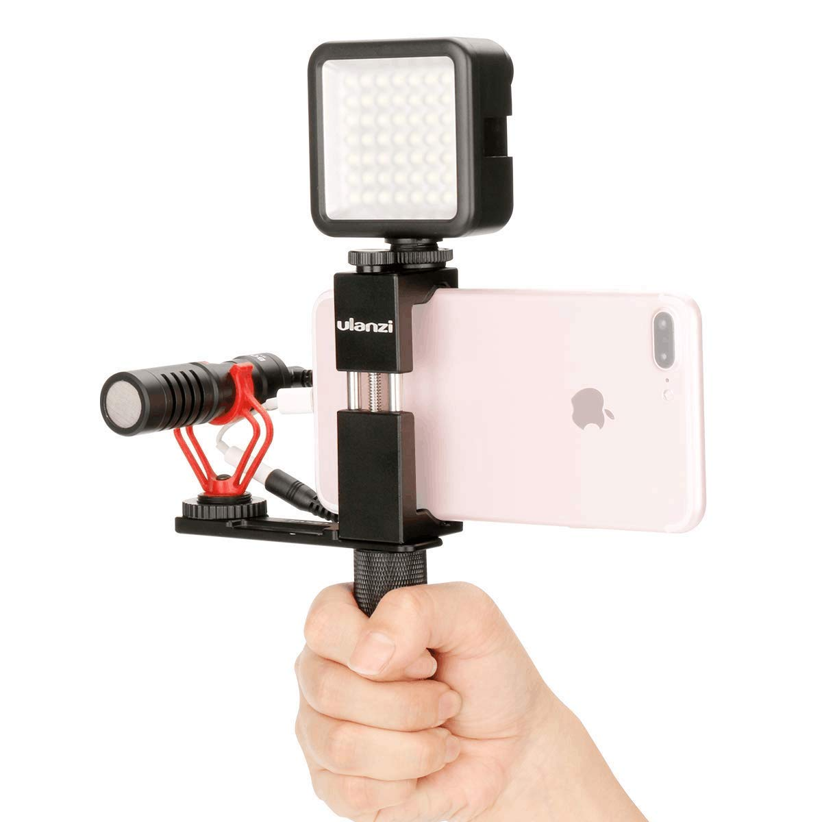 Ulanzi Pocket Rig for Smartphones with Boya by-MM1 Shotgun Microphone and 49 LED Video Light Cold Shoe Plate for iPhone Xs Xs Max X 8 7 Plus Filmmaking Professional Videography by ULANZI