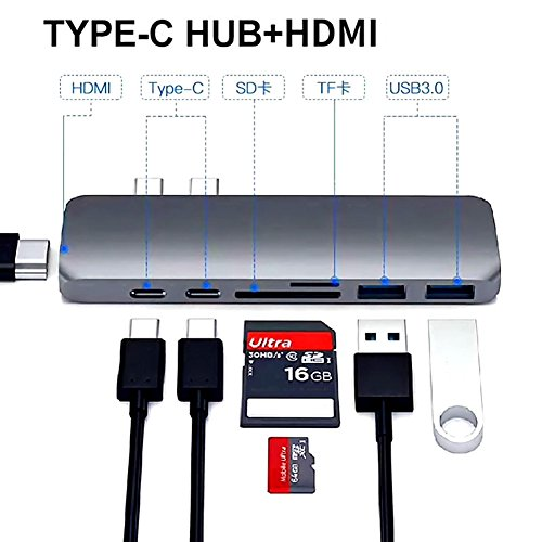 USB C Hub Adapter,7 in 1 Dual Type-C Docking Station Thunderbolt 3 Hub for 2016/2017 MacBook Pro with 100W Power Delivery,USB-C,4K HDMI,2xUSB3.0,SD and MicroSD Card Reader (GREY) by Ingerik Direct (Image #5)