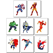Superhero Wall Art Poster Prints - Set of Eight 8x10 Watercolor Photos Captain America - Ironman - Hulk - Batman - Superman - Spiderman - Flash - Thor