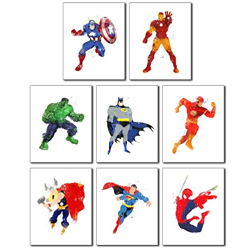 Superhero Wall Art Poster Prints - Set of Eight 8x10 Watercolor Photos Captain America - Ironman - Hulk - Batman - Superman - Spiderman - Flash - Thor