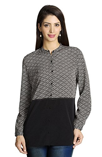 MOHR Women's Printed and Solid Shirt Medium Black by MOHR - Colors of India