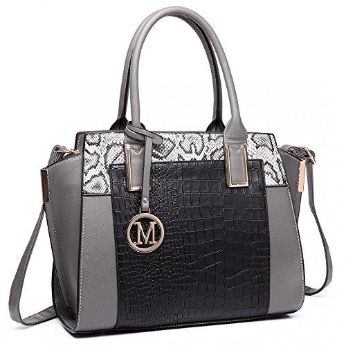 Shoulder Look Print Women Snake Grey Designer Inspired Leather Handbag ABYqP
