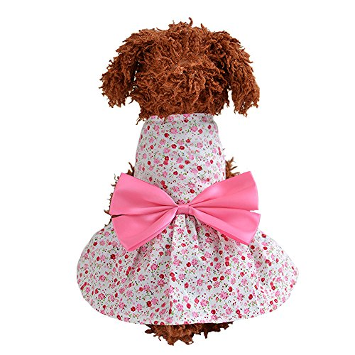 BBEART Pet Clothes, Small Dog Sweet Floral Dress Girl Bowknot Skirt Tutu Clothing Puppy Cat Sleeveless Cotumes for Spring and Summer Apparel (S, Pink)