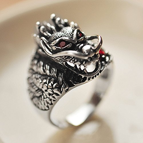 MetJakt Vintage 925 Sterling Silver Domineering Dragon Ring with Ruby Punk Rock Rings for Men's Fine Jewelry (12) by MetJakt (Image #3)