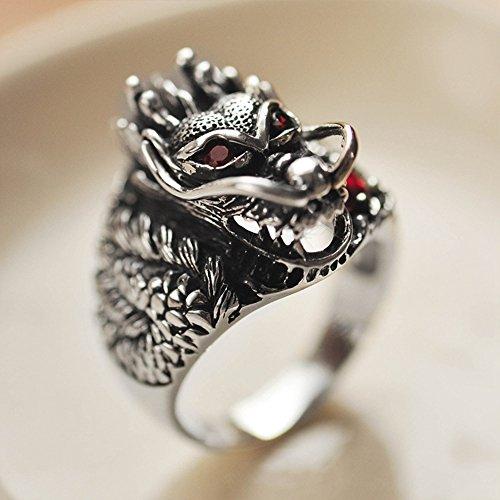 MetJakt Vintage 925 Sterling Silver Domineering Dragon Ring with Ruby Punk Rock Rings for Men's Fine Jewelry (8) by MetJakt (Image #3)