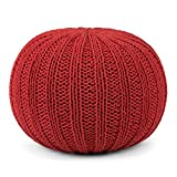 Simpli Home Shelby Round Pouf, Candy Red