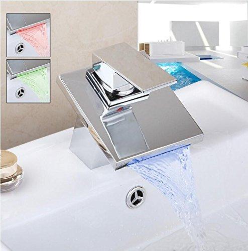 Maßej Volle Messing Wasserfall Bad Armatur Deck Montiert Messing Verchromt Waschbecken Mischbatterie Kalt- Und Tippen Sie Auf