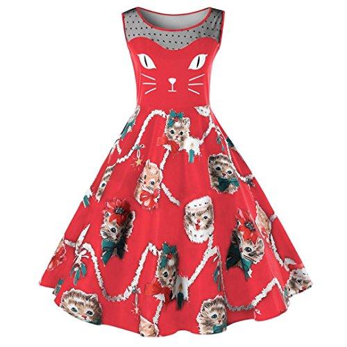 Lenfesh Retro Rojo Hombros Line Linda Ropa Mujer Dress Gatos A Primavera de Vestido sin axFOaRnz