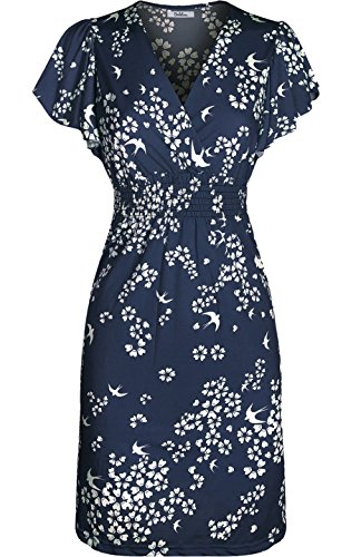 2LUV Women's Cap Sleeve Printed Smocked Empire Waist Midi Summer Dress Dark Blue ()