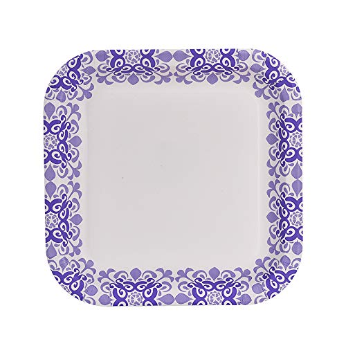 Glad Square Disposable Paper Plates for All Occasions | New & Improved Quality | Soak Proof, Cut Proof, Microwaveable Heavy Duty Disposable Plates | 8.5
