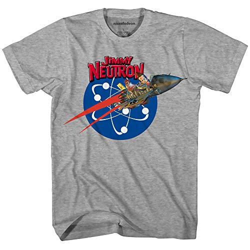 Nickelodeon Mens 90's Classic Shirt - Jimmy Neutron Vintage T-Shirt (Jimmy Neutron Heather Grey, X-Large)