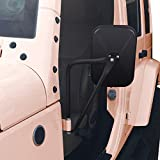 AUDEW A Pair Shake-proof Rectangular Adventure Mirrors ,Bolt-on Door Hinge Safari Mirror, Jeep Wrangler Side View Door Mirrors Fits All Jeep Wrangler JK CJ YJ TJ Textured Black
