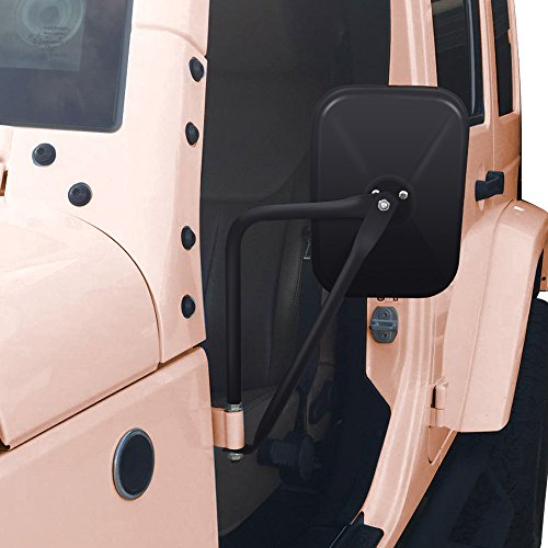 AUDEW A Pair Shake-proof Rectangular Adventure Mirrors ,Bolt-on Door Hinge Mirror, Off-Road Doorless Mirrors, Jeep Side Mirrors Fits All Jeep Wrangler JK CJ YJ TJ (Textured Black) - Jeep Wrangler Side Mirrors