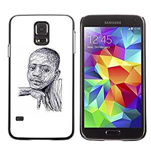 Plastic Shell Protective Case Cover || Samsung Galaxy S5 SM-G900 || African American White Sketch @XPTECH