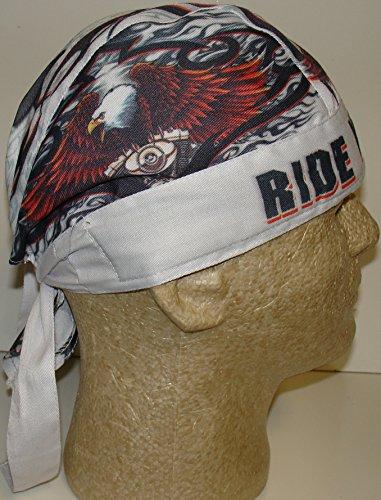 Hot Leathers USA Patriotic Eagle Motor Tribal on White Biker Sweatband Lightweight Cotton -