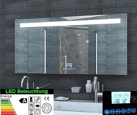 Lumière LED Miroir Radio-réveil commutateur tactile MP3 120x60cm