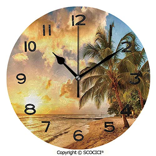 (SCOCICI 10 Inch Round Face Silent Wall Clock Tropic Sandy Beach with Horizon at Sunset and Coconut Palm Trees Summer Photo Unique Contemporary Home and Office Decor )