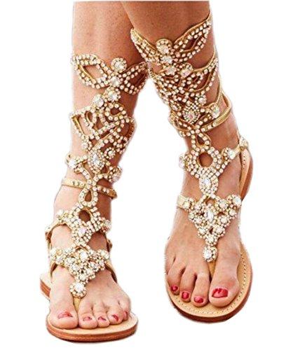 Eslite Volontà Delle Donne A Metà Polpaccio Sandali Di Strass Gladiatore Più Il Formato Disponibile Due Colori Oro Selezionabile