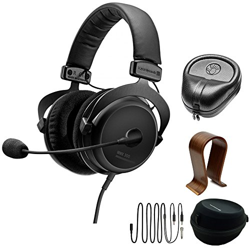 Slappa Electronics Consumer (BeyerDynamic MMX 300 PC Gaming Digital Headset with Microphone 2nd Generation 32 Ohms (718300) with Slappa HardBody PRO Full Sized Headphone Case Black & Universal Wood Headphone Stand)