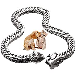 "UTOPIAY 16mm Stainless Steel Dog Choke Chain Hip Hop Pet 316L Choker Collar Cuban Curb Necklace Training Slip Collar 12-34"",26inch"
