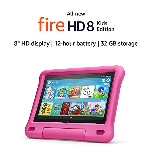 Fire HD 8 Kids tablet | for ages 3-7 | 8″ HD display, 32 GB | Pink Kid-Proof Case