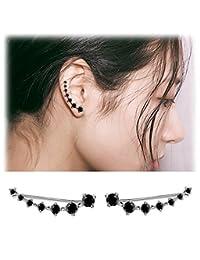 Elensan 7 Star Ear Cuffs Climber 925 Sterling Silver Earrings Hypoallergenic Crystal Bling Jewelry