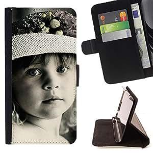BullDog Case - FOR/Sony Xperia Z1 Compact D5503 / - / Cute Little Girl /- Monedero de cuero de la PU Llevar cubierta de la caja con el ID Credit Card Slots Flip funda de cuer