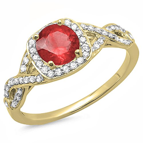 Dazzlingrock Collection 14K Ruby & White Diamond Swirl Split Shank Halo Engagement Ring, Yellow Gold, Size 6 ()