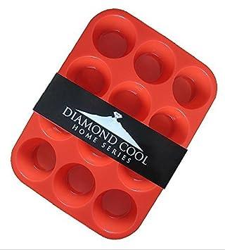 Diamond Cool - Molde para Muffins Muffins en diferentes Variantes Molde Para Hornear De Silicona - Rojo, molde muffin para 12: Amazon.es: Hogar