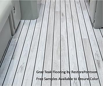 Restore Pontoon Gray Teak Luxury 80 Mil Marine Vinyl Flooring (16' ), Deck Hardware - Amazon Canada