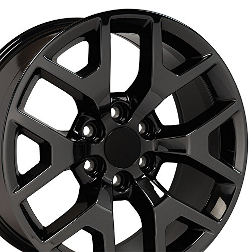 22x9 Wheels Fit 6-Lug GM Trucks and SUV's - GMC Sierra Style Black Chrome Rim, Hollander 5656 - SET