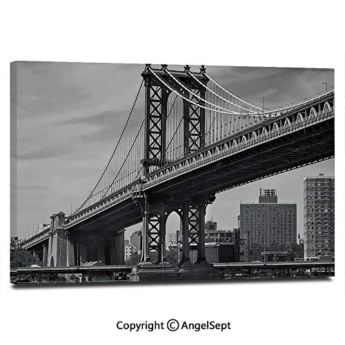 (Canvas Prints Modern Art Framed Wall Mural Bridge of NYC Vintage East Hudson River Image USA Travel Top Place City Photo Art Print Wall Decorations for Living Room Bedroom Dining Room Bathroom Offic)
