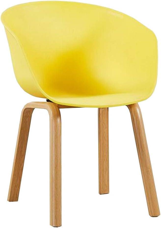 WYYY silla de Oficina Silla del Comedor Minimalista Moderno Asiento PP Madera Maciza Silla De Mesa Económico Silla De Respaldo Fácil De Montar Los 43X43X78cm Durable Fuerte (Color : Yellow)