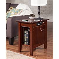 Atlantic Furniture AH13314 Nantucket Side Table Rubber Wood, Walnut