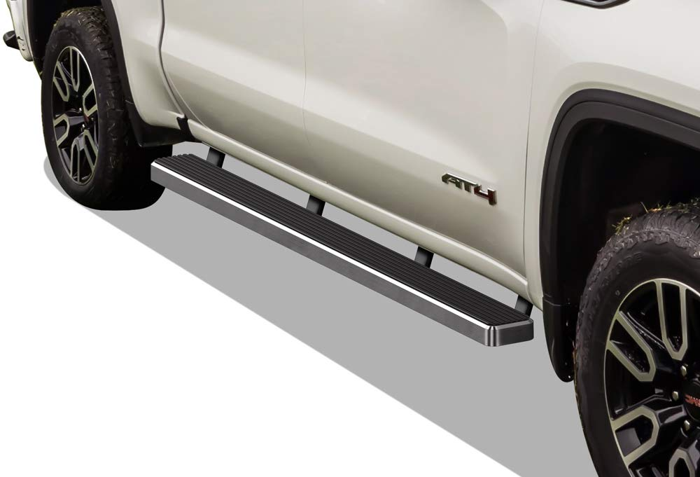 APS iBoard (304 Stainless Steel Polished Silver 5 inches) Running Boards | Nerf Bars | Side Steps Compatible with 2019-2020 Chevy Silverado GMC Sierra 1500 Crew Cab(Excl. 2019 Silverado 1500 LD)