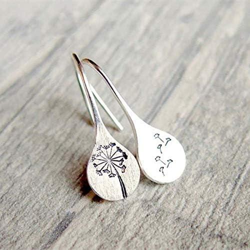 Caselast Simple Dandelions Dangle Earrings Retro Silver Drop Earrings Jewelry Gift for Women Ladies Girls