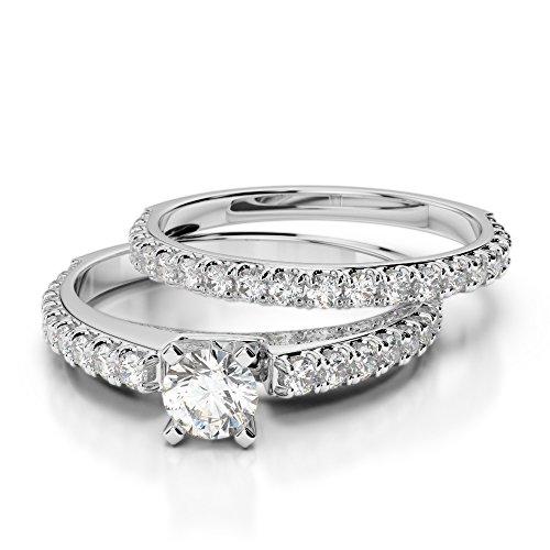 Or blanc 18carats 1CT G-H/VS sertie de diamants Coupe ronde de mariage Bague de fiançailles et ensemble de Agdr-2057