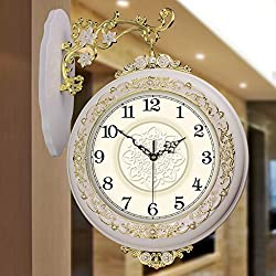 Wall clock battery operated Solid Wood Double-sided Wall Clock, European -style Creative Living Room Wall Clock, Quiet Sweep Seconds Decorative Wall Clock H49cm W36cm ( color : White , Size : B )