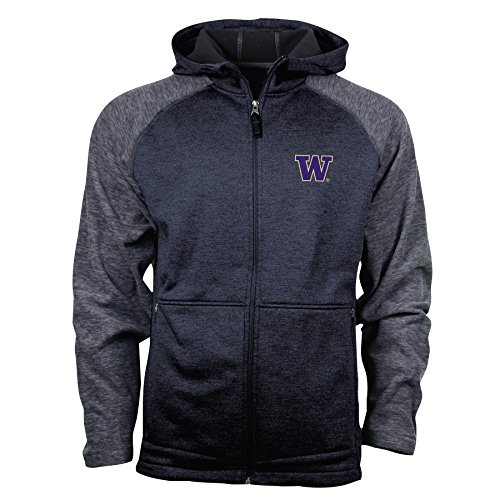 - Ouray Sportswear NCAA Washington Huskies Hybrid II Jacket, Small, Black Heather/Charcoal Heather