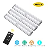 GOSTAR Under Cabinet Lighting, 10leds Dimmable Remote Control Night Light, Operates on 4 AAA Batteries(Not in Included) Magnetic Tape Lights for Closet Cabinet, 3 Pack (Nature White(6000K))