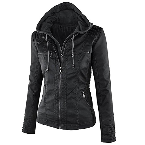 hooded faux leather jacket - 8