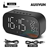 AUSSYUN Mini Portable Multifuntional Bluetooth Super Bass Speaker, Digital Alarm Clock with Thermometer, Dimmable LED Display, Dual Alarm, TF Card Slot, USB Charging Port, FM Radio(Black)