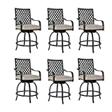 Patio Tree Outdoor Patio Swivel Bar Stools Chairs with Beige Cushions (Set of Six)