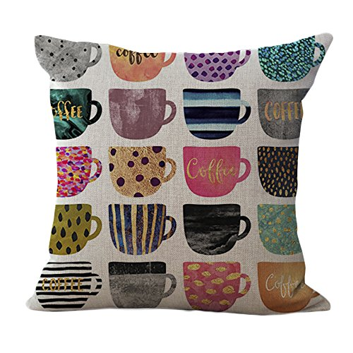 ChezMax Color Coffee Cup Pattern Cushion Cover Cotton Linen Pillowslip Square Decorative Throw Pillow Case 18 X 18''