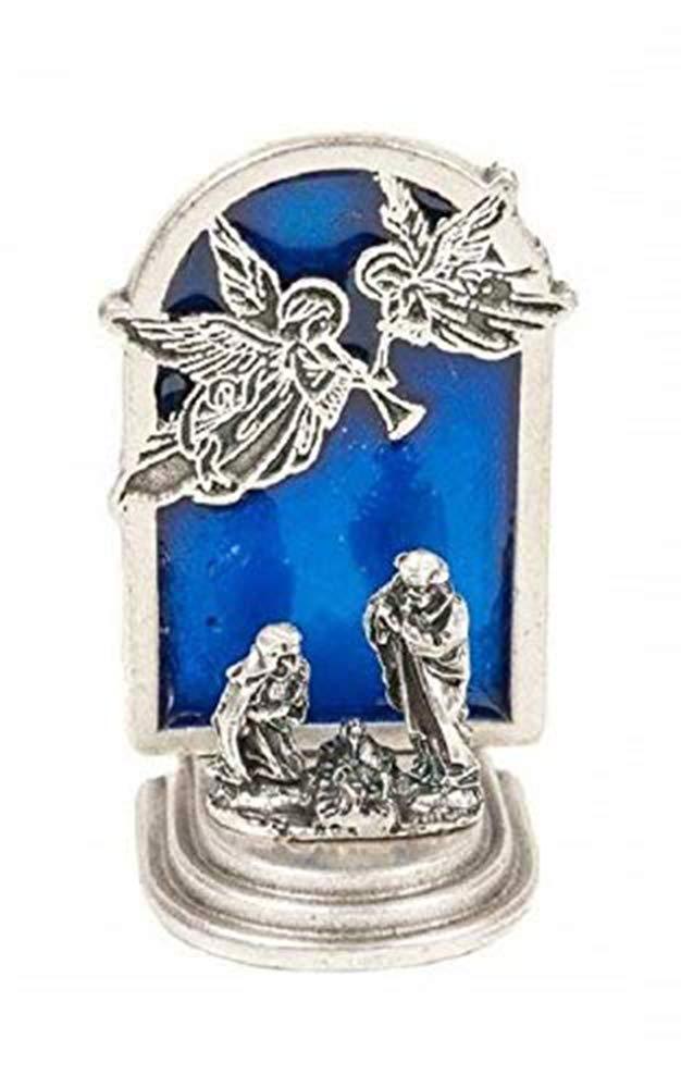 Mini Presepe placcato argento con Angeli - Decorazione natalizia Eurofusioni