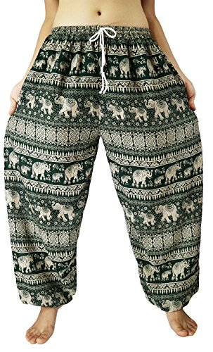 [Lovely Creations's Unisex Plus Size Loose Trousers Elephant Print Genie Aladdin Hippy Yoga Bohemian Pants Adjustable Waist 24-44 Inchs with sting 100% Rayon US size 0-20 (2X) (AA] (North Indian Dance Costumes)
