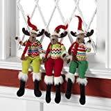 RAZ Imports Christmas Posable Moose with Hat and Sweater 18'' - Set of 3